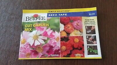 BURPEE SEEDS LARGE PACKAGE! 2020 CUT GARDEN MIX SEED TAPE $.99 SHIP