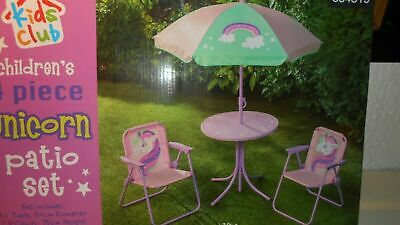Unicorn Kids Children Garden Patio Furniture Set Table Chairs Parasol Foldable