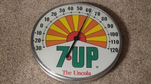 Vintage 1971 Sunshine 7UP The Uncola Glass Dome Thermometer Made in U.S.A. MINTY
