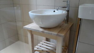 Cloakroom Vanity Unit, Wash Stand for Basin Sink, Heavy Solid Birch Freestanding