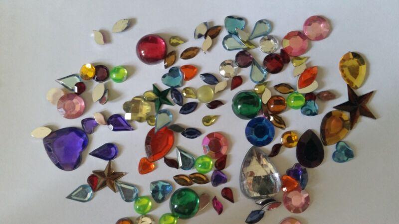 CraftbuddyUS100pc Mixed Hearts/Stars Rhinestone Gem Shape Toppers StickOn w/Glue