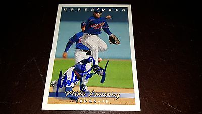 MIKE LANSING SIGNED 1993 UPPER DECK ROOKIE CARD RC AUTOGRAPHED