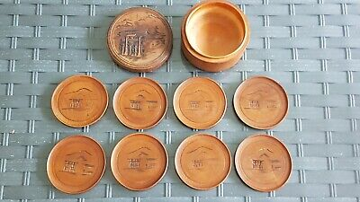 Antique Japanese Asian Oriental Hand Carved  Boxed Wooden Satsuma Coaster Set x8 - Carved Wooden Coaster