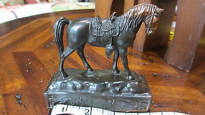 Miniature Vintage Copper Horse ~ Trophy Craft Los Angeles ~ On Decorative Base
