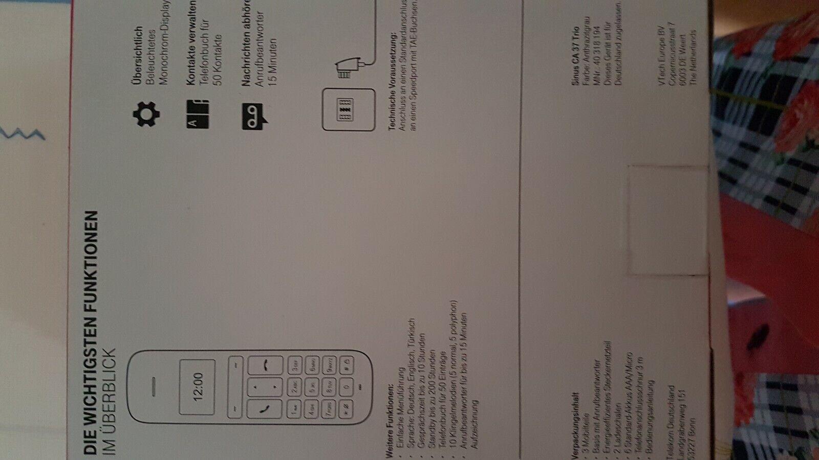 Telekom Sinus CA37 TRIO 3er Set DECT-Telefone schnurlos Festnetz mit AB NEU & OV