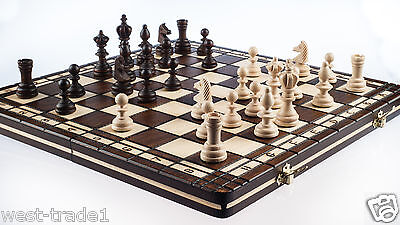 Brand New♞ Hand Crafted Wooden Chess And Draughts Set3 36cm x 36cm...