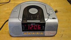 GPX Digital FM Clock Radio w/ CD, CD-R/RW Player &  Dual Alarm, Silver
