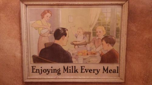 Enjoying Milk Every Meal original framed poster 1939 National Dairy Council