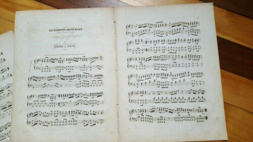 1840 Lot of 2 Wm Henry Harrison 1840 Presidential Campaign Songs Sheet Music