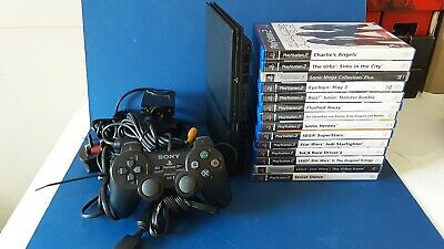 SONY PLAYSTATION 2 SLIM PS2 PLUS 14 GAMES