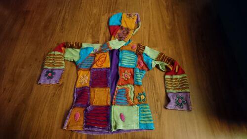 Weste alternative Kleidung, bunt mit Kapuze, Spiritualität, Handarbeit
