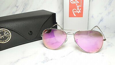 NEW Ray-Ban Aviator RB3025 019/4T SILVER Frame PINK MIRROR FLASH Lens (Silver Mirrored Aviators Ray Ban)