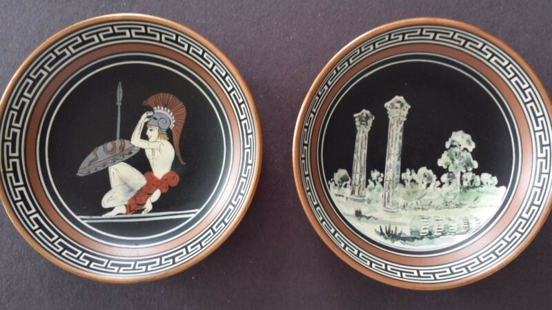 2 Vintage Greek Copper Handpainted wall hangings by John Douatijis, Athens#319