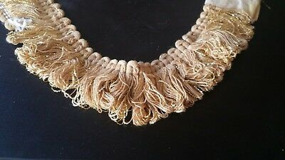 "10 YDS BOMAR TRIMMING BEAUTIFUL GOLD 1.5"" LOOP FRINGE DRAPERY UPHOLSTERY TRIM"