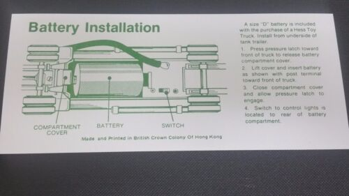 Hess 1970 s   TANKER TRUCK  BATTERY INSTRUCTION CARD