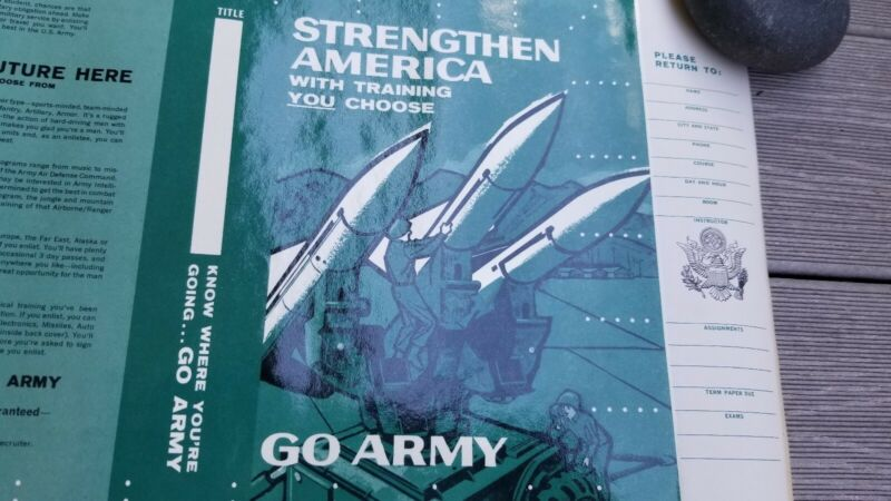Vintage 1961 US Army Recruiting Text Book Cover Poster Missles SCHOOL UNISSUED