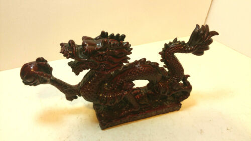 Lucky Red Dragon Chinese Resin Figurine Statue China Feng Shui