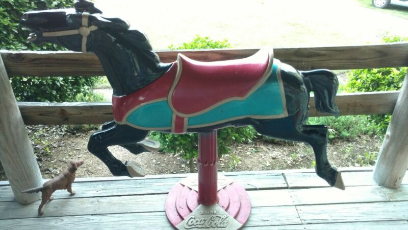 Large Coca-Cola Ride On Cast Aluminum Carousel Horse 1 piece