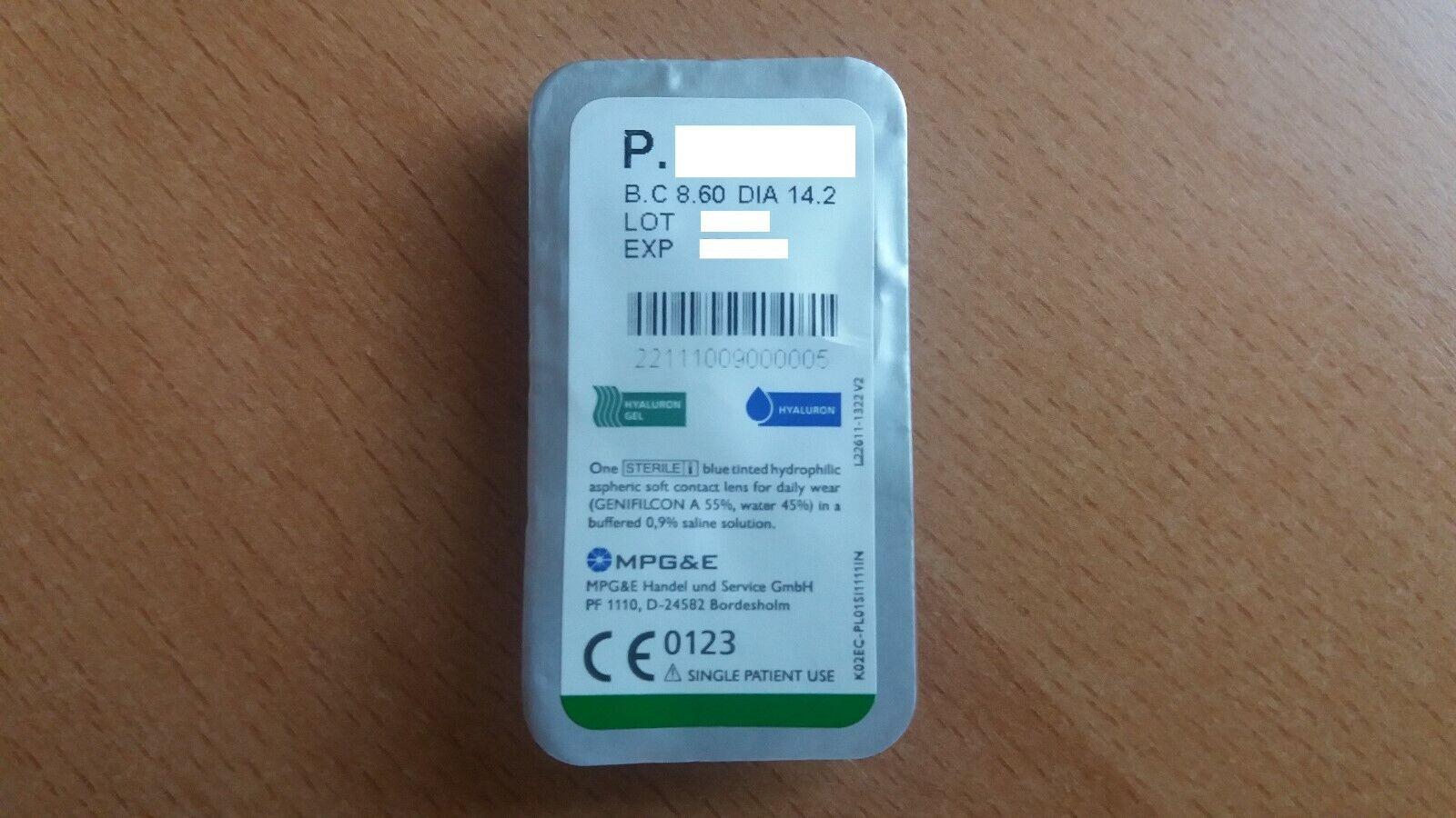 Silicone Comfort Kontaktlinse mit Hyaluron verschiedene Stärken MPG&E ECCO