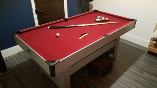 Pool Table 6ft Red Felt (Used) + Ball Set and Cue