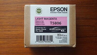 (2018 GENUINE EPSON LIGHT MAGENTA T5806 K3 ULTRACHROME INK STYLUS PRO 3800 80ml)