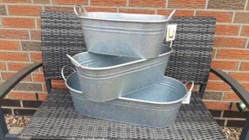 Pflanzwanne Zink silber grau  ideal für den Garten 51 cm  NEU Dekoration