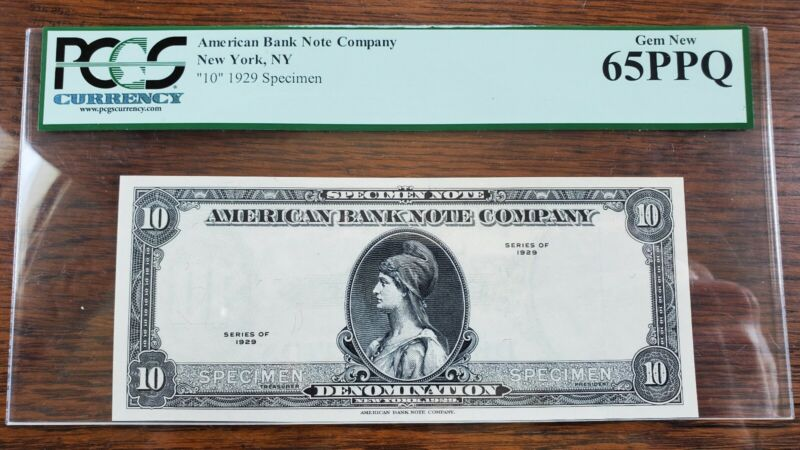 RARE ABC American Bank Note Company ($10) 1929 Specimen PCGS GEM NEW 65PPQ