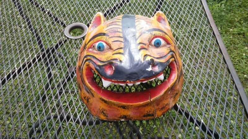 vintage tribal wood cat mask wall hanging