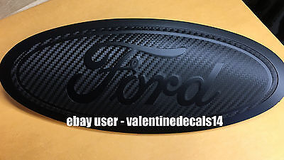 Ford F150 2015 2016 17 18 19 CARBON FIBER Front & Rear Oval Emblem Overlay Decal