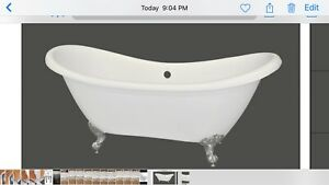 Double slipper clawfoot tub with drain $700