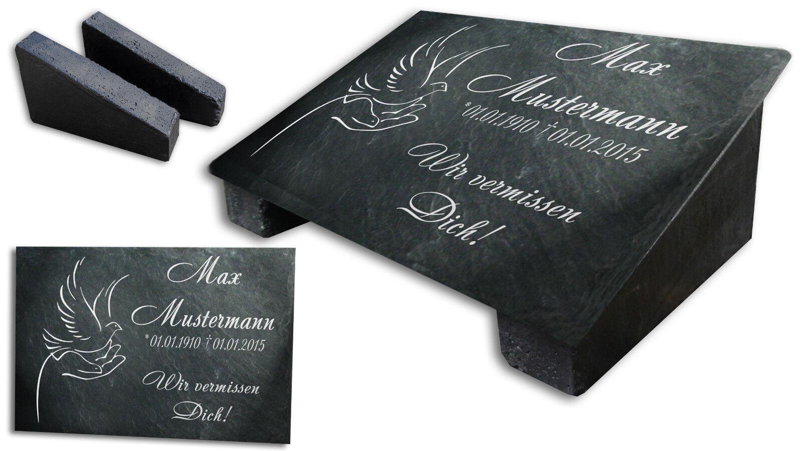 Schwarz Gedenkplatte Grabstein Gedenktafel Gedenkstein Urne Tiergrab Motiv Hände
