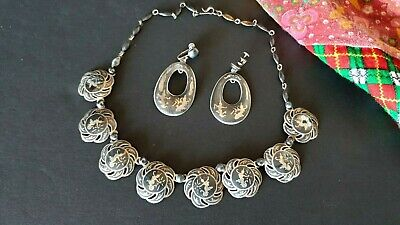 Old Thailand Silver & Black Enamel Necklace & Ear Rings Set