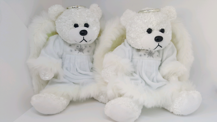 x2 soft white Angel Bears with shimmery silver wings & halo