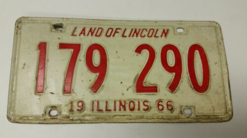 1966 ILLINOIS License Plate 179 290