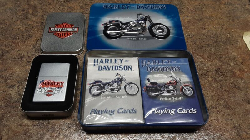ZIPPO LIGHTER 2001 HARLEY DAVIDSON GREAT AMERICAN FREEDOM & 2001 CARDS WITH TIN