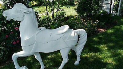 White  Freestanding Carousel Dancing Horse Primed-Unpainted