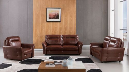 3 Pc Italian Top Grain Brown Leather Sofa Loveseat Chair Living Room Set