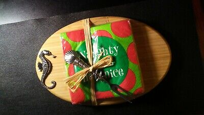 OVAL SEAHORSE SERVING/CUTTING BOARD/STARFISH FORK&NAUGHTY/NICE NAPKINS! CC994DXX