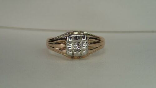 Art Deco Style Diamond Ring .07 tcw 10K size 6.75 Vintage Estate Antique