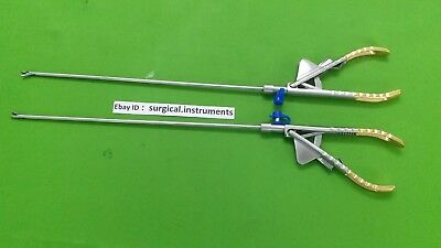 2pc Needle Holder Curvd Straight Jaw 5mmx330mm Laparoscopic Surgical