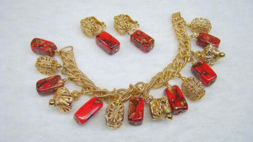 Vintage Napier Red Art Glass Filigree Bead Dangle Bracelet & Earrings Set