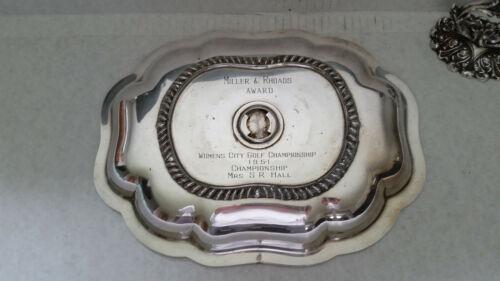 Miller &Rhoads Dept. Store Vintage Silverplate Dome Golf Award 1951 Mrs.SR Hall