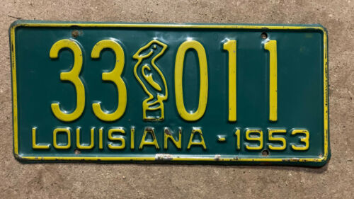 1953 Louisiana license plate 33-011 pelican