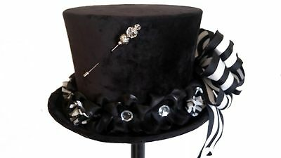 Black Velvet Steampunk Victorian Top Hat with Black & White Bow by Jypsy Jane - Black And White Top Hat