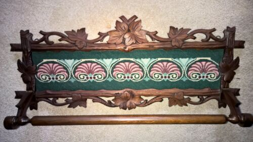 Gorgeous Victorian Carved Walnut Wall Towel Bar with Needlepoint Panel