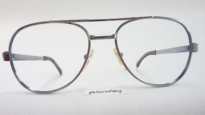 Metallgestell für Männer robuste Vintagebrille silber Doppelsteg sportlich Gr. L