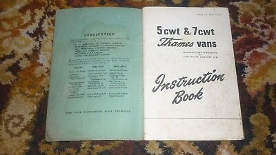 FORD THAMES 5 CWT 7 CWT VAN INSTRUCTION BOOK 1955