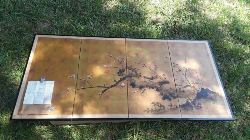 RARE ISSHI KAWAKATSU Japanese Hand-Painted 4 Panel Folding Screen BYOBU w/LETTER