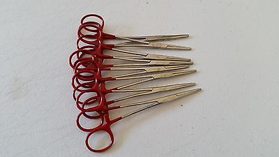12 Kelly Hemostat Forceps 5.5 Surgical Dental Straight Economy Grade Red
