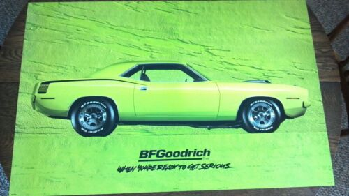 BFGOODRICH SIGN 1970 LIME HEMI PLYMOUTH CUDA ORIGINAL POSTER Gas and Oil